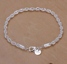 1 PCS 925 Sterling Silver Plated Women Fashion Charm Twist Rope Chain Bracelet