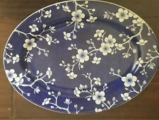 """NEW WILLIAMS SONOMA FRENCH BLUE BLOSSOM BOUQUET 14"""" OVAL PLATTER"""