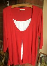 M & S White Camisole Mock Top with attached Cherry Red Cardigan (Size 24)
