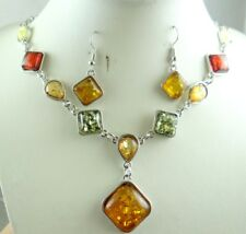 Precious Modernist COGNAC YELLOW GREEN PRESSED AMBER earrings NECKLACE set P40