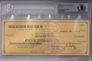 BECKETT WILLIAM WIRTZ-BILL HAY SIGNED 1962 CHICAGO BLACKHAWKS CHECK #5462