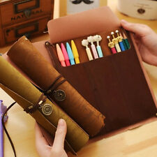 New Retro Faux Leather Wrap Roll up Pencil Case Pen Bag Holder Storage Pouch