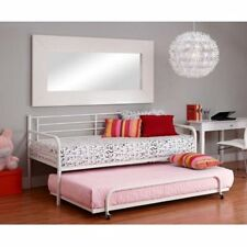 Daybed Trundle Spare Bed FOR Twin Mattress Metal White Frame Bunkbeds Dorm New