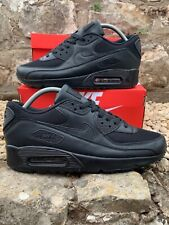 NIKE AIR MAX 90 TRAINERS   TRIPLE BLACK   LEATHER   ALL SIZES   BRAND NEW IN BOX
