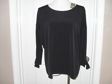 New Chico's Tallie Tie Sleeve Top Blouse 3=16/18 XL Black NWT