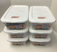 Plastic Storage Box 4 Pack Set Container Clear Tote Bin Stackable Lid Bins: