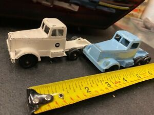 Pair RalstoyToy Tractor Trailer Trucks Tin 60's Mack International Peterbuilt