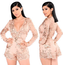 Abito tuta nudo Ricamato Cerimonia Party Cocktail Ballo Sequin Romper dress M