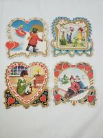 Lot of 4 Vintage Antique Die-Cut Valentine's Day Cards Hearts Mail Sled Scrap