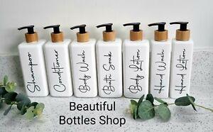 Mrs Hinch Grey White Square Bathroom Bottles Bamboo Shampoo Condition Hand Wash