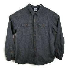 Columbia Mens Size XL Black Gray Button Front Shirt Jacket