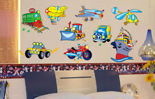 Transportation Kids Wall Stickers Nursery Boys Decor Decal Car Planes Boat Train