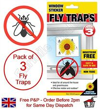 Fly Traps 3 Pack Window Stickers Flies Insect Bugs Sticky Glue Catch Easy to Use