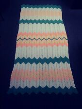 "Homemade Afghan 93"" (very long) x 45"" Peach Yellow Green White Chevron Euc"