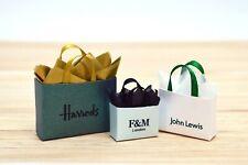 3 Gift Bags Shopping Christmas Tree Presents Designer Dolls House Miniature