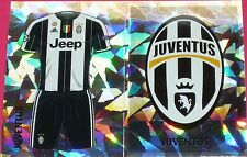 JUV1 JUV2 JUVENTUS kit & badge 2016/2017 Topps Champions League Stickers