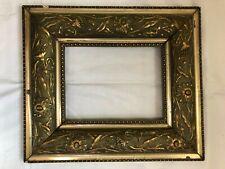 Cornice Vecchio Bianco Placcato Oro Legno Bloccato Stile Liberty Circa 1910