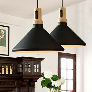 Black Pendant Lighting Kitchen Chandelier Light Wood Lamp Bar Ceiling Lighting