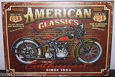 "American Classics Motorcycle Usa Metal Sign 10"" Tall X 14"" Wide Biker Mint"