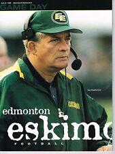 1998 Edmonton Eskimos Home vs Montreal Alouettes Canadian Football CFL Program