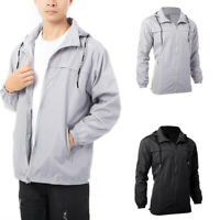 Mens Jacket Lightweight Windbreaker Zip Up Coat Hooded Long Sleeve Sweatshirt NY