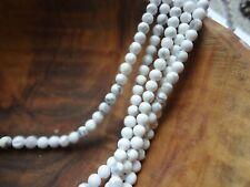 """4mm Round Natural White Howlite Turquoise Gemstone Beads - 15"""" Strand"""