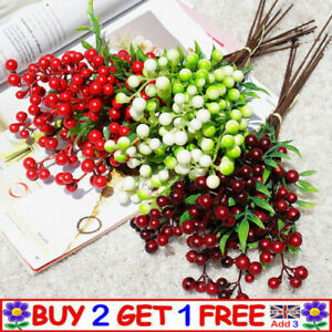 6 Branch Berry Artificial Flowers Christmas Fake Flower New Year Xmas Home Decor