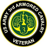 """Army 3rd Armored Cavalry Veteran 5.5"""" Sticker 'Officially Licensed'"""