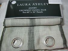New Laura Ashley ASHBY Grommets Window Panels 2(40x84) Black & Dark Ivory Stripe