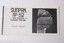 Sunpak Auto AP-52 Flash Instruction Manual Book - English - USED B55 GD