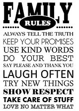 FAMILY RULES Vinyl Wall Art Decal Wall Lettering Quote Words Home Decor