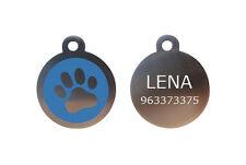Placa de ACERO para Perro Gato - HUELLA AZUL 32x32 mm. - GRABADO Y ENVÍO GRATIS