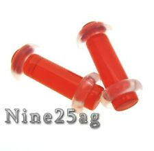 "PAIR RED 6G (4MM) PLUGS 1/2"" INCH WITH O RINGS NO FLARES GAUGES PLUG TUNNELS"