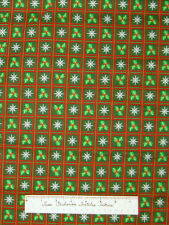 Christmas Fabric - Holly Berries Snowflakes Green Red Squares - Cotton YARDS