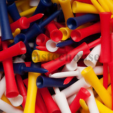 100 PLASTIC STEP GOLF TEES LARGE MIXED COLOURS (76 mm) + Free Golf Ball Markers