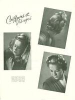 Publicité ancienne mode coiffures et visages 1945 issue de magazine