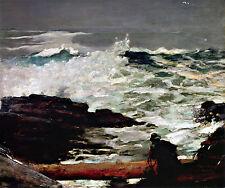 """1909 WINSLOW HOMER, Driftwood, Antique, Vintage ART, Artist,16""""x13 CANVAS"""