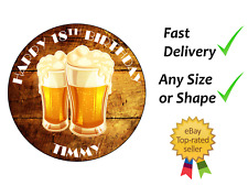 18th Birthday Beer cake topper edible icing or Wafer Personalised