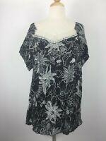 CJ Banks Womens sz 2X Plus Size Cap Sleeve Knit Shirt Top Lace Embellished Black