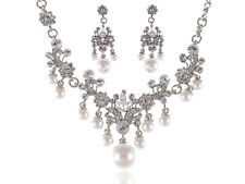 Alimarket Silver Pearl Beaded Necklace Pendant Earrings Set Shiny Party Jewelry