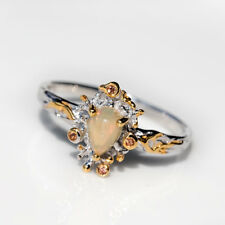 Ethiopian Opal Yellow Topaz 925 Sterling Silver Ring Hand-Made Engagement Ring