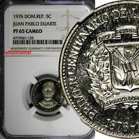 DOMINICAN REPUBLIC PROOF 1976 5 Centavos NGC PF65 CAMEO Mintage-5,000 KM# 41