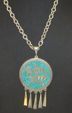 STERLING TURQUOISE INLAY PENDANT CHAIN NECKLACE HECHO EN MEXICO MEXICO 925 5709B