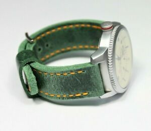 Distressed leather watch strap for men Two piece strap Handmade green watchband