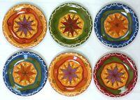 "Pier 1 One Carynthum Set 6 Salad Dessert Plates 8"" Multi-Color Hand Painted NICE"