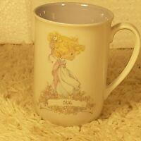 Vintage 1989 Samuel J. Butcher Enesco Precious Moments Name Sue Coffee Mug Cup