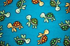 """GOLD & GREEN BABY TURTLES SWIMMING ON TURQUOISE FLEECE MATERIAL 2 YDS 60 X 72"""""""