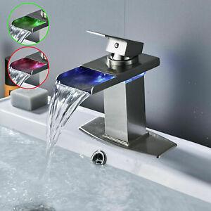 LED Waterfall Brushed Nickel Single Handle Bathroom Sink Faucet Basin Mixer Tap