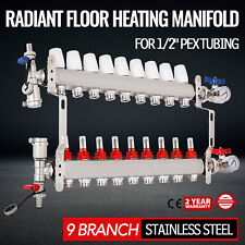 "9-Branch PEX Radiant Floor Heating Manifold Set - Stainless Steel, for 1/2"" PEX"