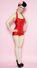 Lolita Girl Clothing Ruby Girl Gathered Retro Pin Up Swimsuit XL Red NEW X-Large